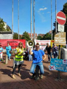Protestaktion am Pavillion