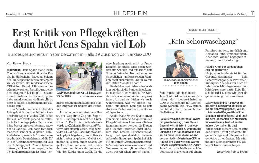 Artikel HAZ Hildesheim 19.07.2021